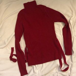 Sweaters - Ribbed turtleneck with tie detail